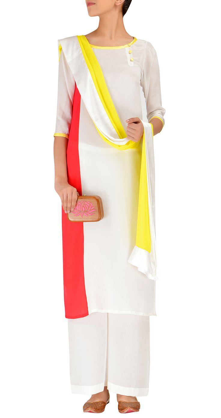White and red kurta with a yellow dupatta  Abu Jani Sandeep Khosla    http://www.perniaspopupshop.com/whats-new