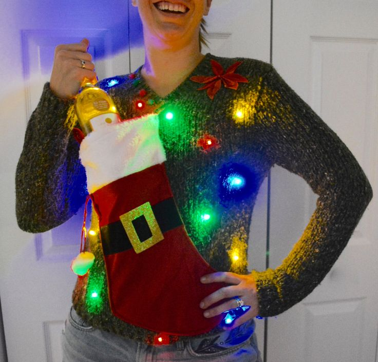 Wine Holder Ugly Christmas Sweater, Light up, Women's Medium, stocking, alcohol, wine, novelty, wine holder by YourSassyGrandma on Etsy https://www.etsy.com/listing/463580686/wine-holder-ugly-christmas-sweater-light