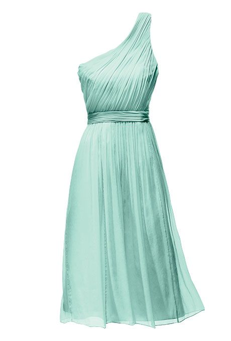 Wedding Color Scheme: Mint with Gold. One-shoulder a-line bridesmaids dress