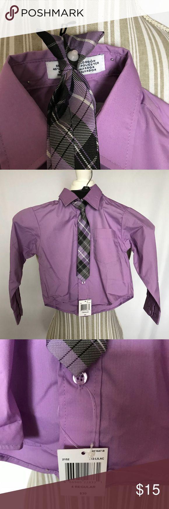 Izod long sleeve dress shirt w/ clip on tie NWT purple long sleeve dress shirt with clip on tie. 55% cotton 45% polyester Izod Shirts & Tops Tees - Long Sleeve