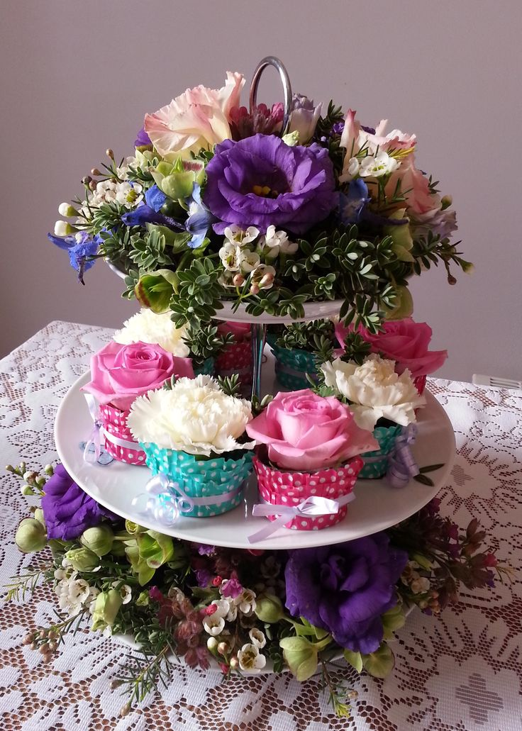 Flower cake stand and cup cakes by wwwkarensflowersco