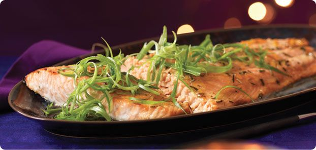 Simple Glazed Salmon - Impress guests with this succulent salmon dish, ready in minutes. You'll love the hint of ginger and sesame – Yum! Brought to you by AIR MILES #airmiles.