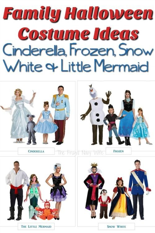 disney family halloween costume ideas cinderella frozen snow white little mermaid - Halloween Kids Images