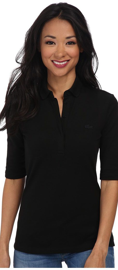 Lacoste Half Sleeve Slim Fit Stretch Pique Polo Shirt (Black) Women's Short Sleeve Knit - Lacoste, Half Sleeve Slim Fit Stretch Pique Polo Shirt, PF6969-031, Apparel Top Short Sleeve Knit, Short Sleeve Knit, Top, Apparel, Clothes Clothing, Gift, - Fashion Ideas To Inspire