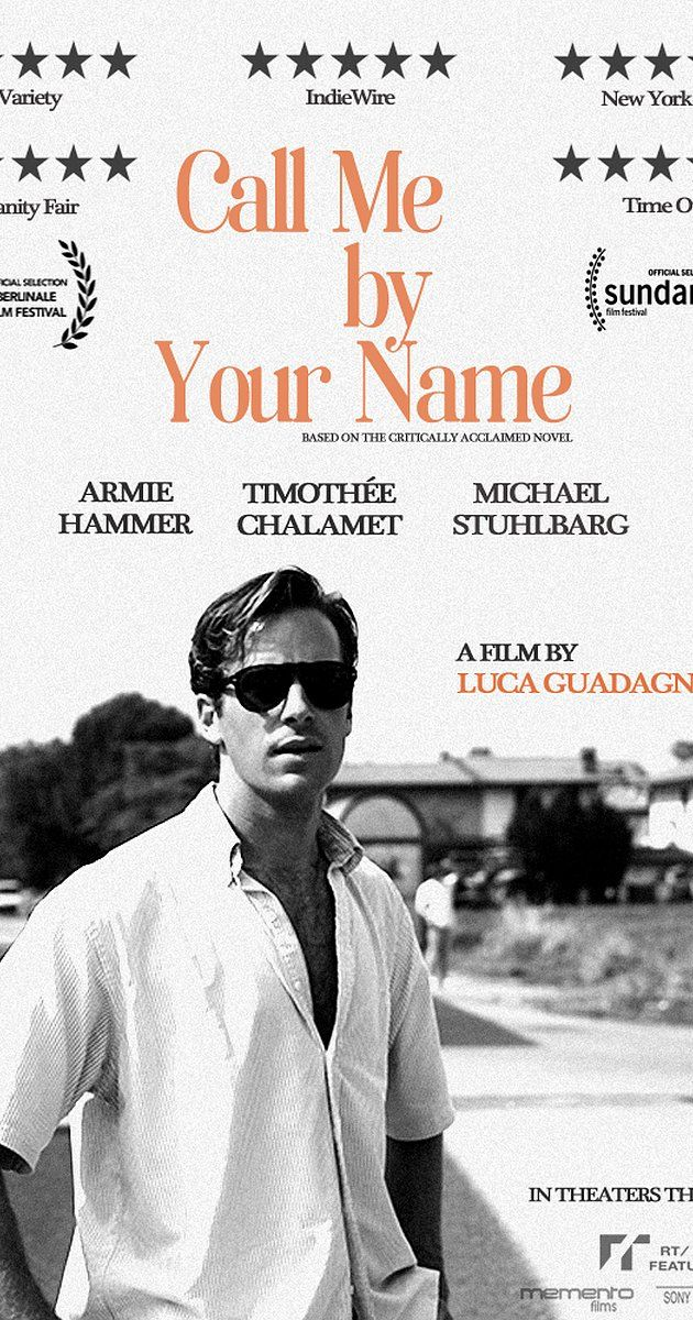 Directed by Luca Guadagnino.  With Elena Bucci, Vanda Capriolo, Amira Casar, Timothée Chalamet. Summer of 1983, Northern Italy. An American-Italian is enamored by an American student who comes to study and live with his family. Together they share an unforgettable summer full of music, food, and romance that will forever change them.