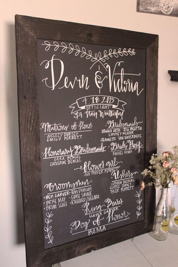 Chalkboard inspired wedding program for guests to read @myweddingdotcom