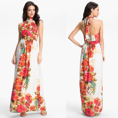 This one is best maxi dress foe petite size women white and orange