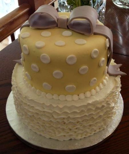 Yellow and gray baby shower cake @Adriele Dixon