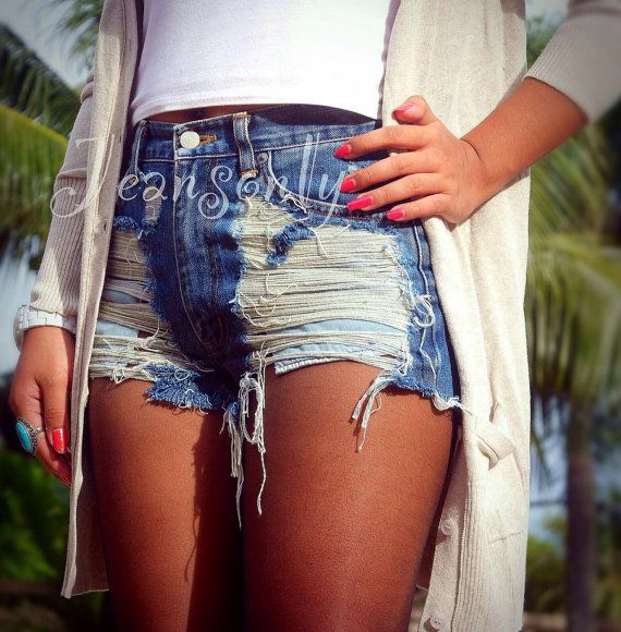 Levis High waisted denim shorts distress cutoff jean shorts custom made to order by Jeansonly