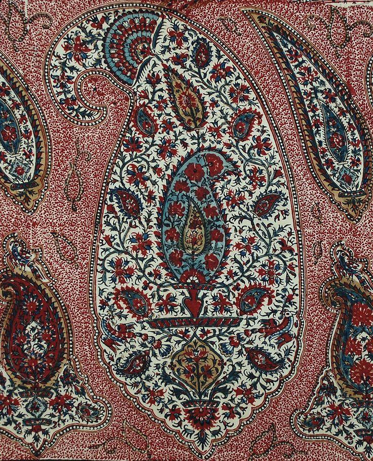 Antique Persian Isfahan Qalamkar Blocked Print (detail). Qajar Dynasty 1795 -1925 A.D. Circa 1850.