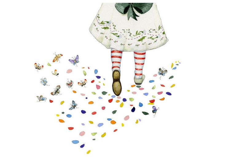 Party Dress Girls Flower petal and Butterfly Footprints print 8x11 Giclee print(Etsy のChasingtheCrayonより) https://www.etsy.com/jp/listing/219719053/party-dress-girls-flower-petal-and