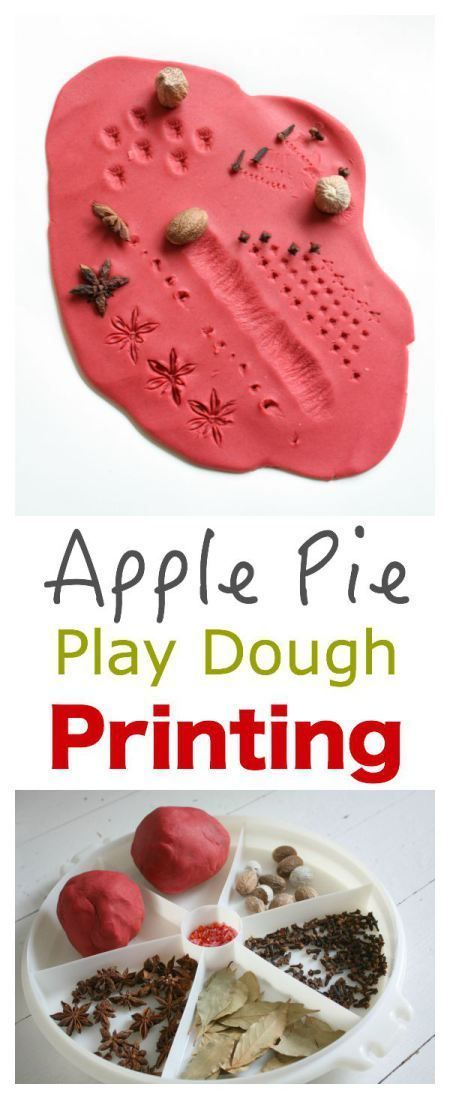 Apple Pie Play Dough Printing. This is a fantastic sensory and learning activity for children! The smell of the play dough and spices, the patterns they make, all in a good days fun!