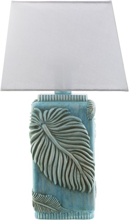"""A paradise retreat feel can be easily imagined and created with these new enchanting 27"""""""" tall Lanai Aqua Tropics table lamps, with their sculpted tropical leaves and rustic finishing touches. Crafted"""