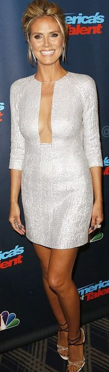 Who made  Heidi Klum's silver mesh dress and studded sandals?