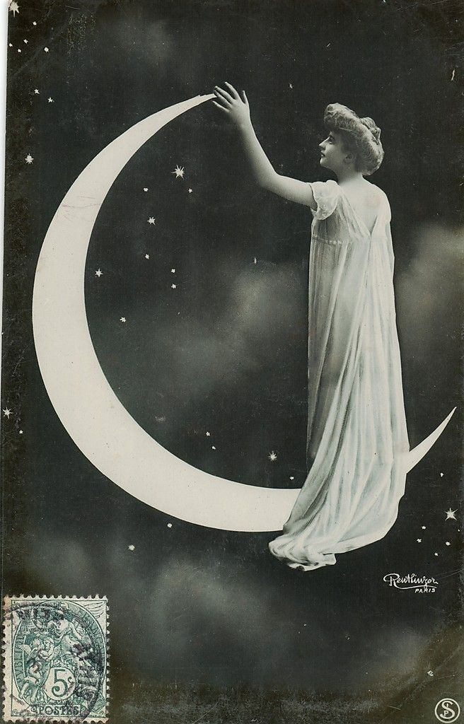 Reutlinger France Lady in Paper Moon Photo Postcard CA 1910''S | eBay