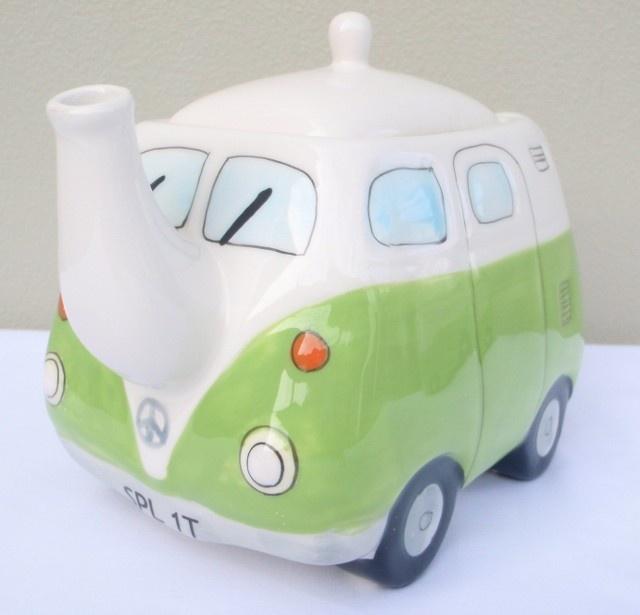 New Vw Kombi Combi Teapot Green Volkswagen Ceramic