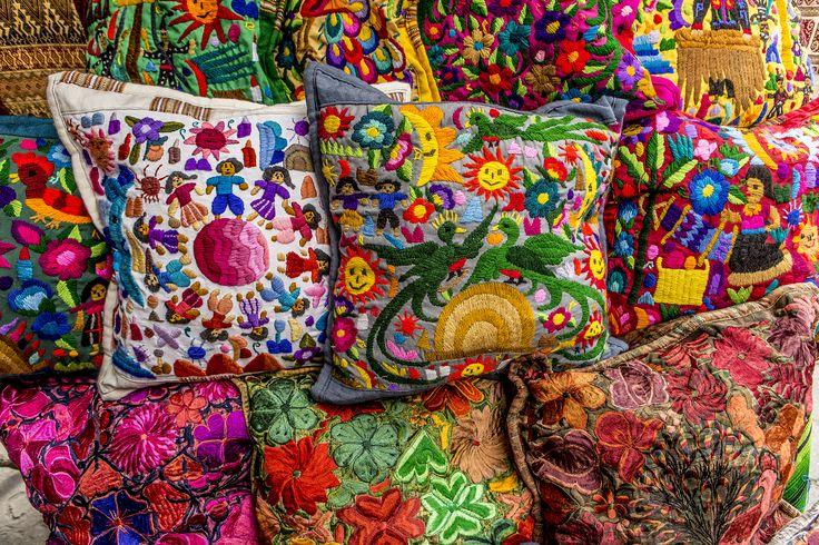 Mayan embroidered pillows Chichicastenango market, Guatemala