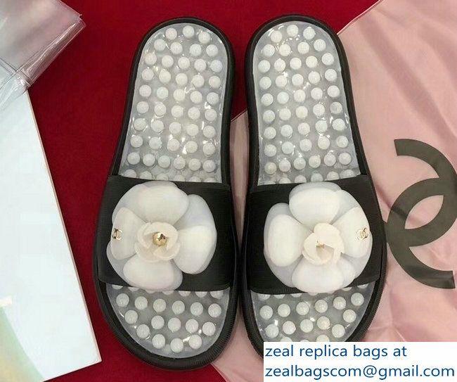 95e4f3a711f5 Chanel Massage Particles Camellia Slipper Sandals Light Gray Black 2018