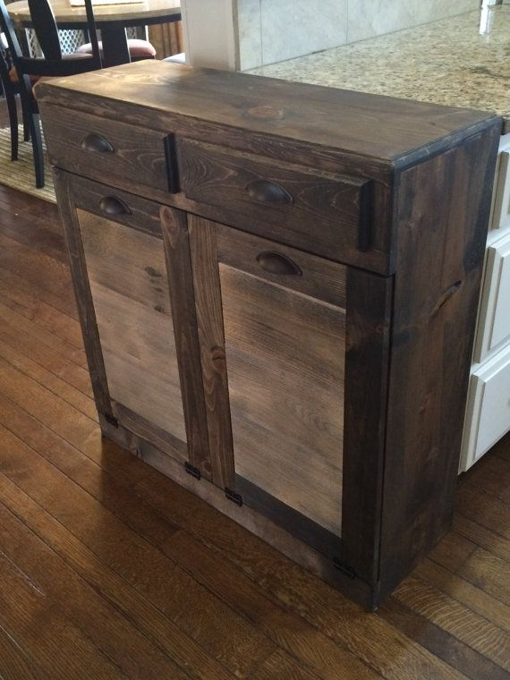 For the Kitchen: Double trash recycle bins - two drawers rustic tilt x2 - Trash, Pop cans, Plastic & Glass, and Paper/Cardboard