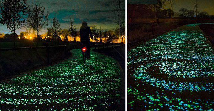 Sendero o camino que brilla en la noche por medio de LED's y esta inspirado en la pintura de la noche estrellada de vincent van gogh en holanda