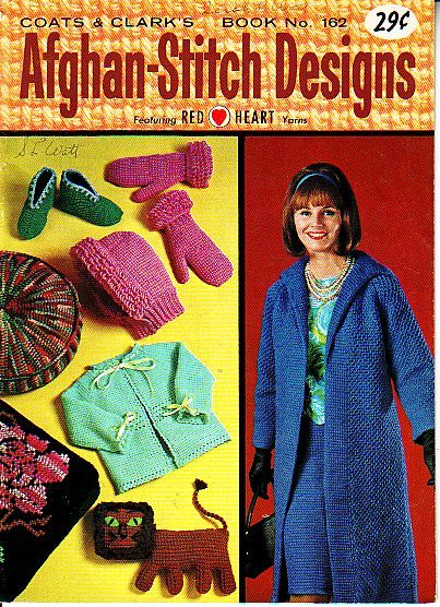 coats and clark 162, afghan stitch designs, came out in 1965, in great condition