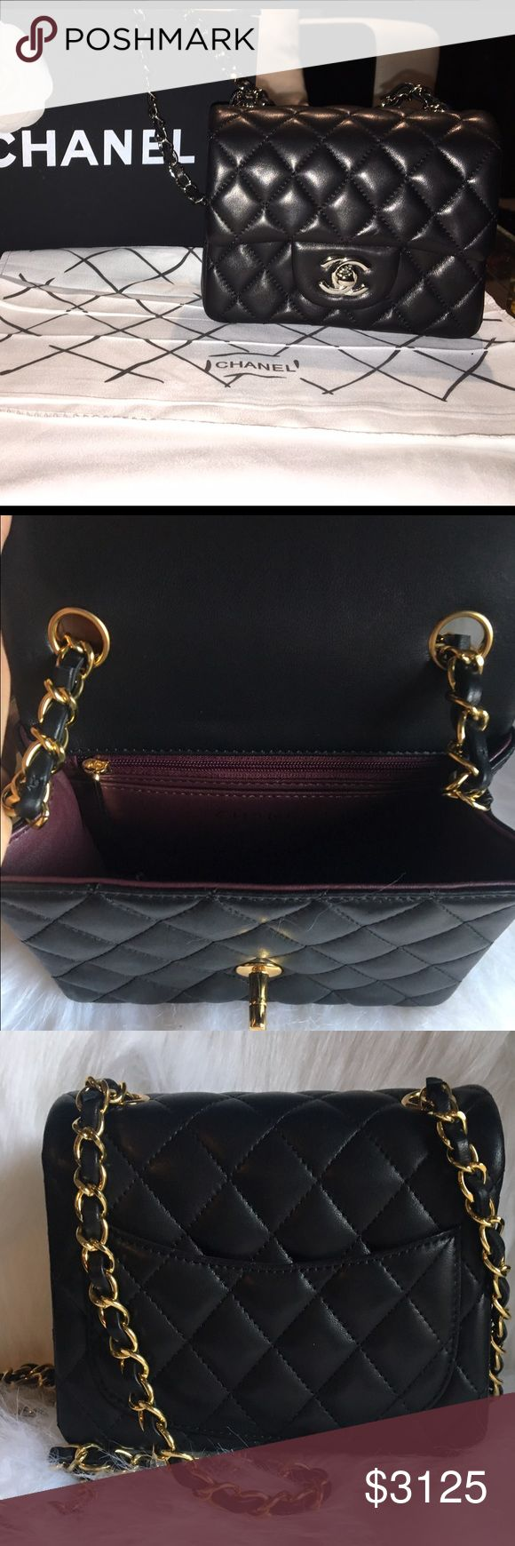 Chanel mini flap bag w quilted lambskin cross body mini Chanel black lambskin purse with silver hardware. interior is maroon leather. this bag is in really good condition. it comes with the dust bag and box. if you have any questions or are interested please ask! I can send more pictures. CHANEL Bags Crossbody Bags