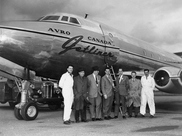 """Avro Canada C-102 Jetliner Howard Hughes personally tested the Jetliner for his airline, flying it from his private airfield at Culver City in California. Little was known about jet engines in their early days. An airport manager in New York City insisted that the Jetliner park away from the terminal and had pans placed under the """"fire-spitting"""" engines to catch any dangerous drippings."""