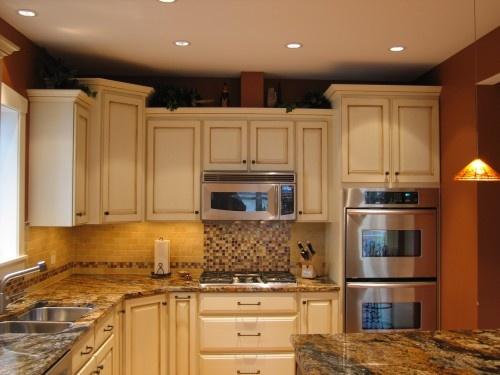 Best Glazed Cabinets Microwave Over Stovetop Tile Backsplash 400 x 300