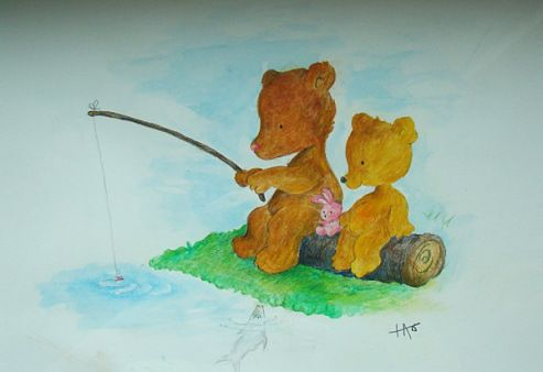 Acrylic painting for small child. , Little bears fishing at a stream