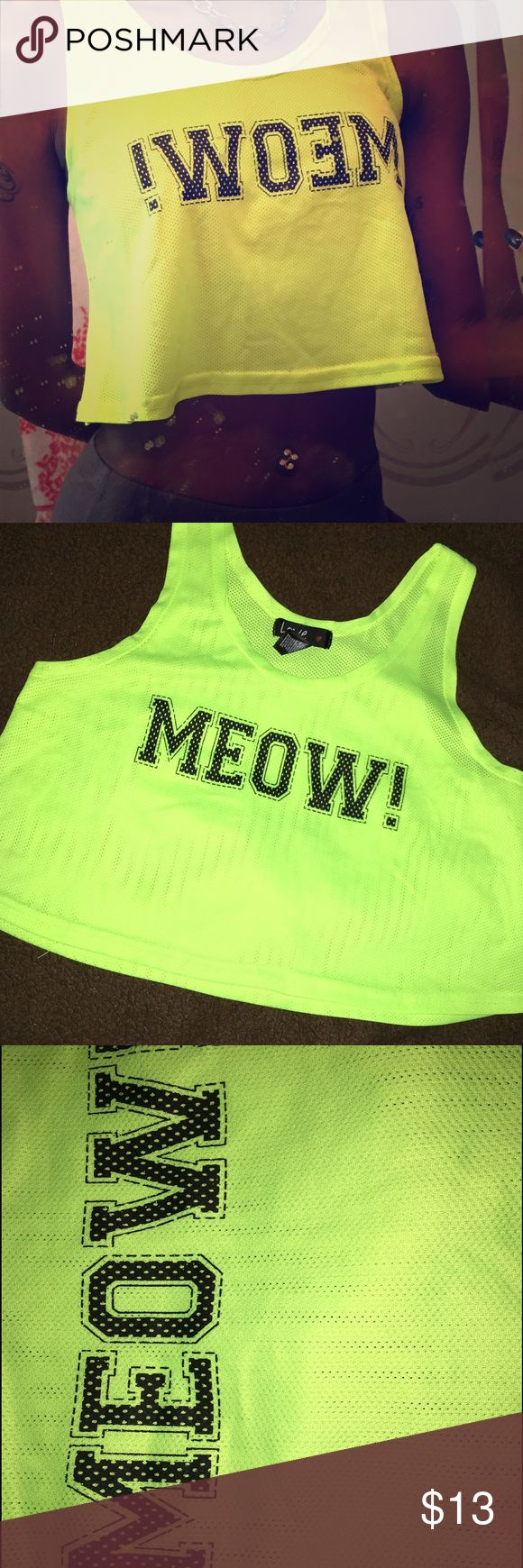 Neon Crop Top !! Never Worn , Neon Yellow Tops Crop Tops
