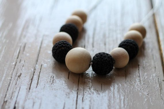 Black Crochet and Wooden Bead Necklace  by FredandPepperShop