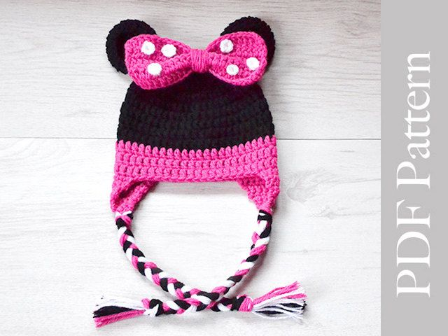 Minnie Mouse Hat Crochet Baby Girl Hat Minne Mouse Earflap Hat PDF Pattern   0381342e5e1