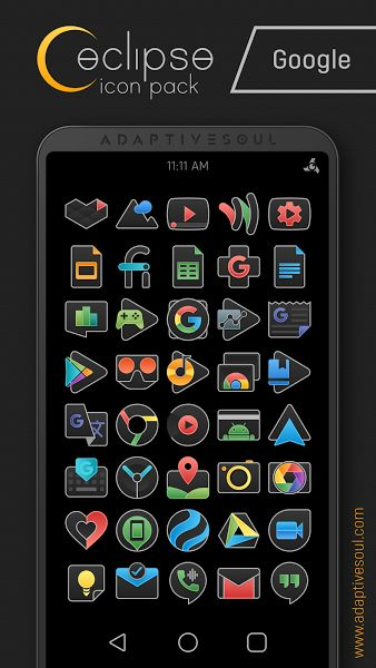 Eclipse Icon Pack v1.0.1 [Patched]   Eclipse Icon Pack v1.0.1 [Patched] Requirements:4.0.3 and up Overview:DISCLAIMER A supported launcher is required to use this icon pack!  Features   Over 520 Premium Icons and Growing (XXXHDPI 192x192 px)  Bi-Daily Updates  4 Premium Wallpapers and Growing  Cloud-based Wallpaper Picker  Support for 38 Launchers  DynamicCalendarSupport  Smart Icon Request Tool  Manually Designed in Vector Graphics  Beautiful Material Dashboard  Help/FAQ Section  Supported…