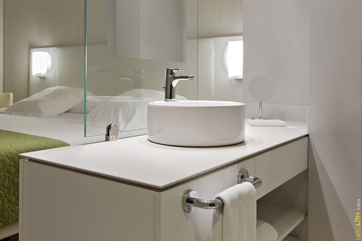 Hotel Bathroom Countertop Using Neolith With A Slim Profile Commercial Pinterest Countertop
