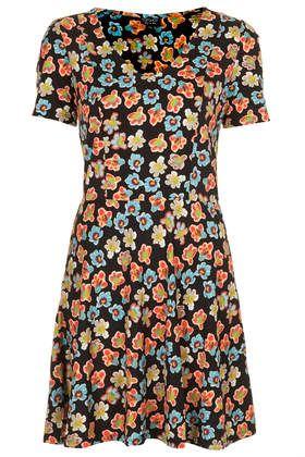 Happy Floral Print Flippy Dress