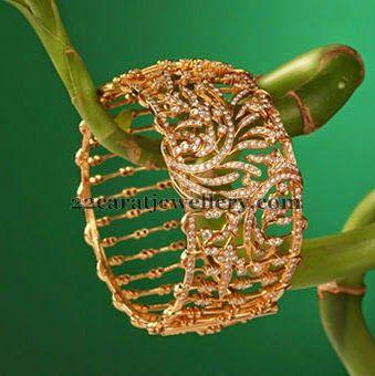 Jewellery Designs: Broad Bangle in Rose Cut Diamonds