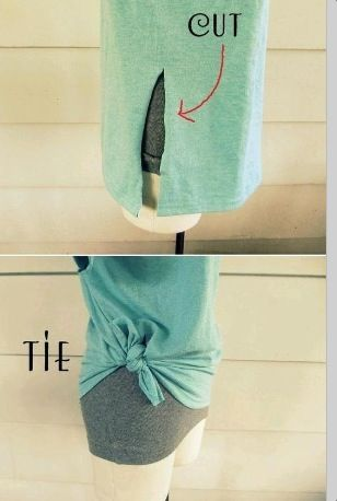 One cut to Tie a T-Shirt...great for too big tshirts! This is how I tie my tees when wearing maxi skirts (to avoid too much bulk).