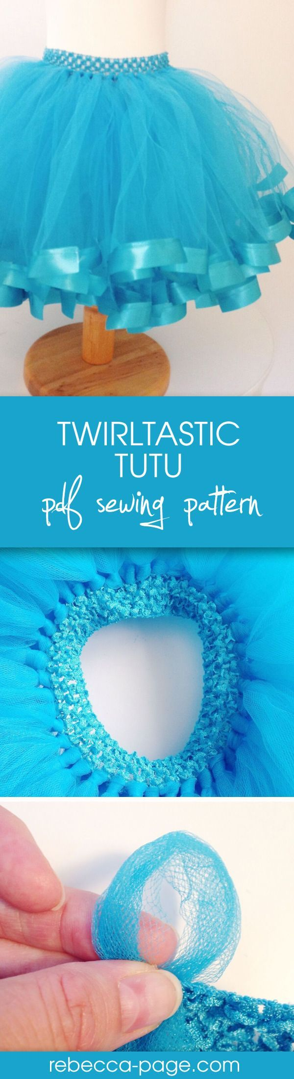 FREE Twirltastic Tutu pdf sewing pattern! Get the coupon code and make the cutest ribbon tutu about. With yards of tulle and super curly ribbon, it's literally twirltastic.  There's an tutorial option for either a ribbon waistband, or a crochet band/headb