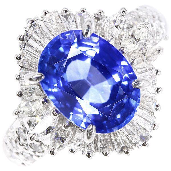 サファイア リング ブルーサファイア 3.24ct ダイヤモンド 0.77ct プラチナ900 Pt900 リングサイズ約8号 ジュエリー 指輪 テーパーダイヤ