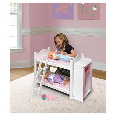 Badger Basket Doll Bunk Beds with Ladder and Storage Armoire