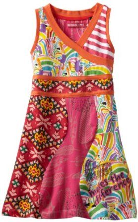 Desigual Girls 2-6X Rainbow Zebra Print Cross Front Tank:Price: $59.00
