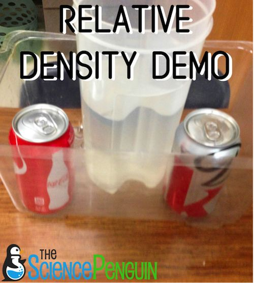Relative density demonstration with Coke and Diet Coke. Properties of Matter.