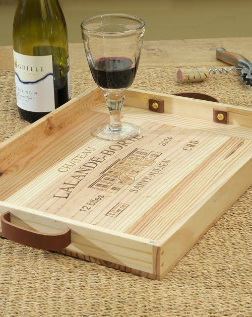 Wine box tray. cute way to re-purpose.