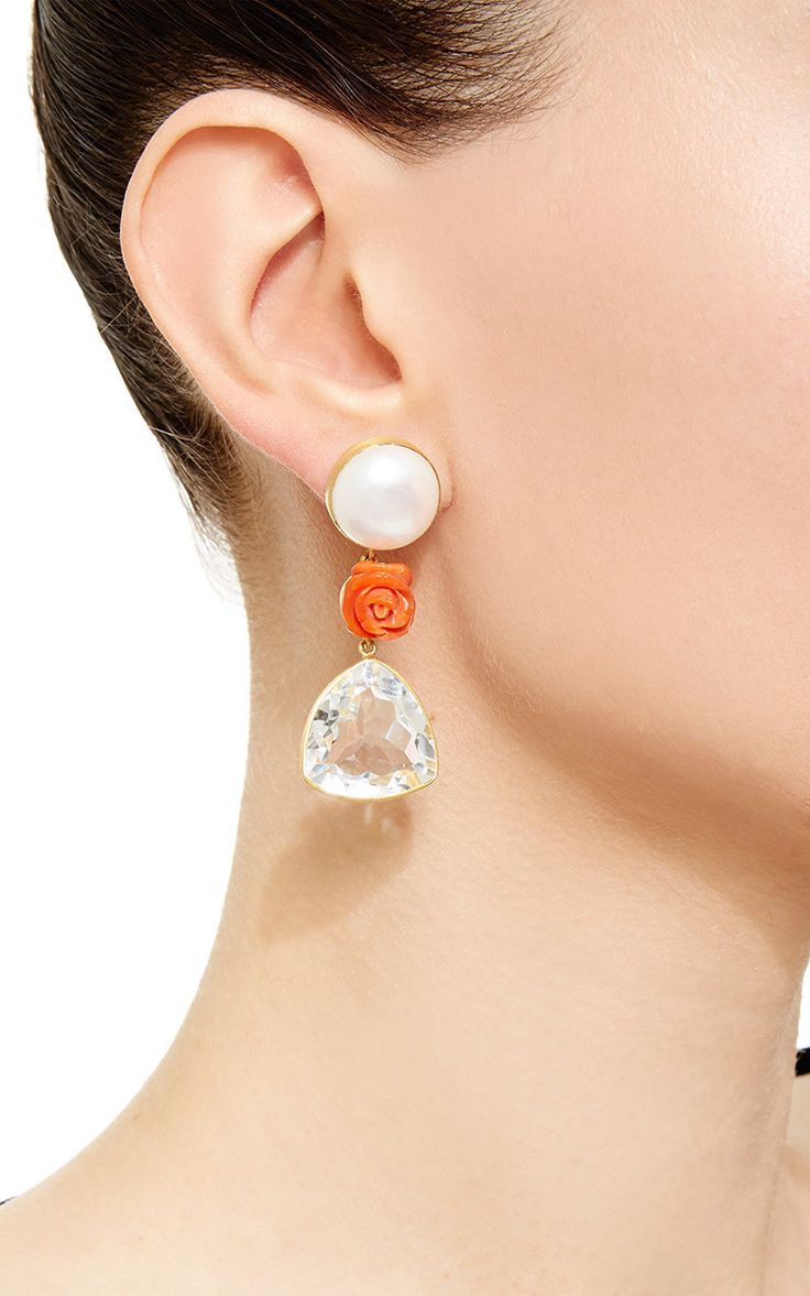 18K Yellow Gold Ear Studs With Pearl, Coral Flower And Rock Crystal - Bahina Resort 2016 - Preorder now on Moda Operandi
