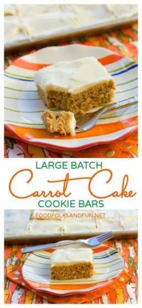 Carrot Cake Cookie Bar Recipe | www.foodfolksandfun.net