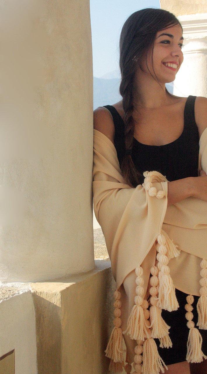 peach wool shawl silk #shawl #marinafinzi #shop.marinafinzi.com