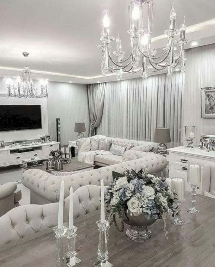 Beautiful All White Luxury Living Room Decor With White