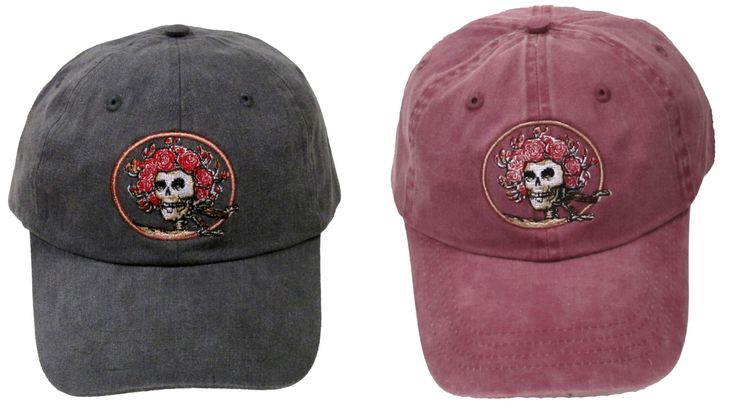 Grateful Dead Hat- Skull and Roses Embroidered Baseball Cap/ hat /Dead and Company/ Bertha by DyetheSkyArt on Etsy