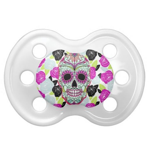 Hipster Sugar Skull and Floral Roses Baby Pacifier