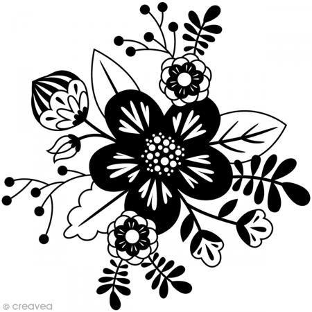 Tampon Bois Artemio - Fleur graphique - 7,2 x 7,4 cm - Photo n°1